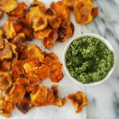 Baked Sweet Potato Chips with Kale Pesto | Vegan, Paleo (+ Low Carb Keto Chips)