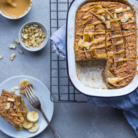 Banana Peanut Butter Baked Oatmeal | Inspiration: Bo's Kitchen