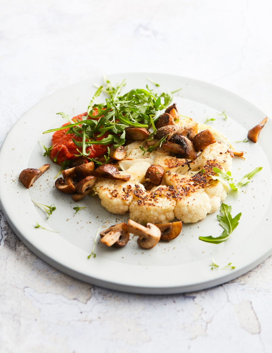Smoky cauliflower steak with baked mushrooms (vegan keto)