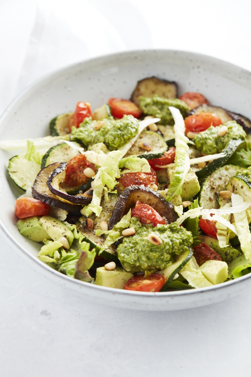 Grilled vegetable salad with pesto from our Start to Keto eBook