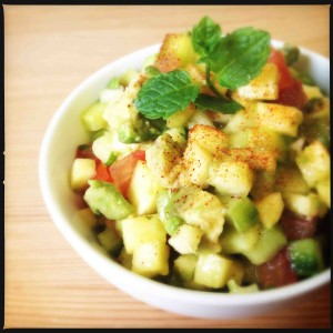 Mexican Papaya Avocado Salsa with Lime Ginger Dressing