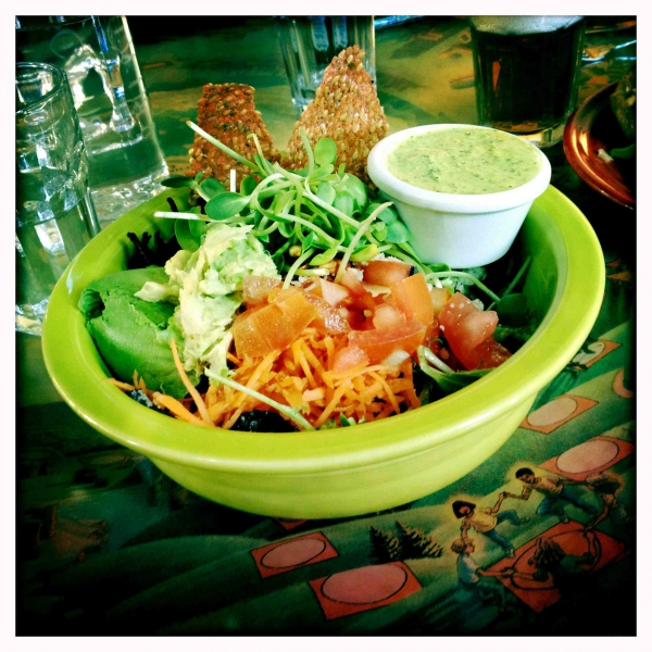 Raw Vegan Avocado Salad with Flax Crackers at Café Gratitude in San Francisco