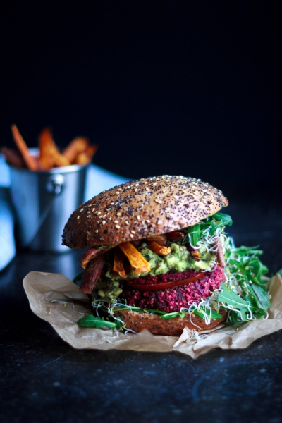 Beetroot Burgers with Sweet Potato Fries | Inspiration: Cailin Rose