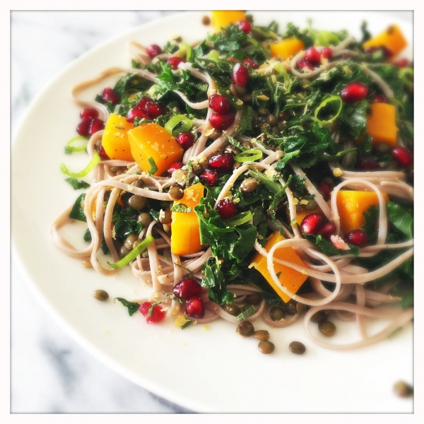 Pasta with Roasted Butternut Squash and Kale