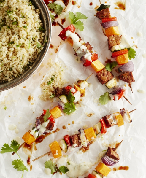 Vegan Holiday Menu: Grilled Vegetable Skewers with Mexican Quinoa