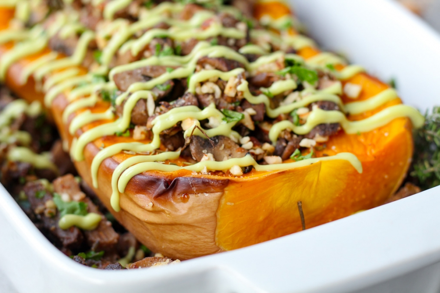 Roasted Butternut Squash with Mushroom Stuffing (Vegan Keto, Gluten Free, Low Carb, Paleo)