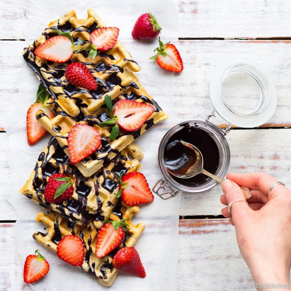 Waffles with Chocolate Sauce | Inspiration: Bo's Kitchen